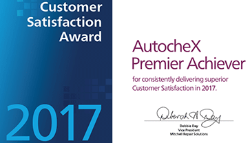 Customer Satisfaction Award AutocheX Premier Achiever Certified Collision Repair Shop